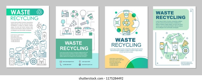 Waste management brochure template layout. Trash sort. Flyer, booklet, leaflet print design with linear illustrations. Garbage recycling. Vector page layouts for magazine, reports, advertising posters