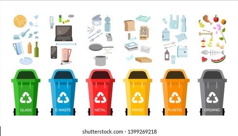 Waste management concept. Different types of Waste: Organic, Plastic, Metal, Paper, Glass, E-waste. Separation of waste on garbage cans for recycling. Colored waste bins with trash. Flat design vector