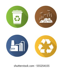 Waste management. Flat design long shadow icons set. Recycle bin symbol, rubbish dump, factory pollution. Environment protection. Vector silhouette illustration