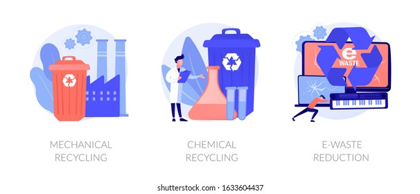 Waste management methods, pollution prevention, obsolete devices disposal. Mechanical recycling, chemical recycling, e-waste reduction metaphors. Vector isolated concept metaphor illustrations