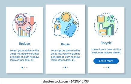 Waste management onboarding mobile app page screen with linear concepts. Zero waste life, reduce, reuse, recycle walkthrough steps graphic instructions. UX, UI, GUI vector template with illustrations