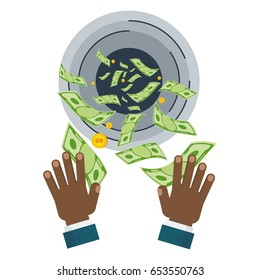 Waste of money concept. Dollar bills flying out of black hands. Concept of a careless waste of money bankruptcy, waste. Flat vector cartoon money illustration. Objects isolated on a white background.