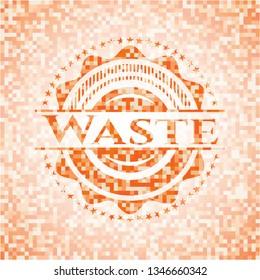 Waste orange tile background illustration. Square geometric mosaic seamless pattern with emblem inside.