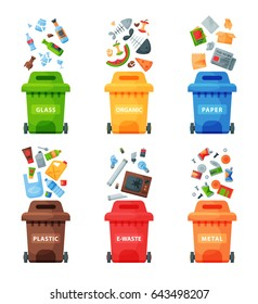Waste plastic separate cans recycling sorting vector management concept segregation separation garbage disposal refuse rubbish bin illustration trash