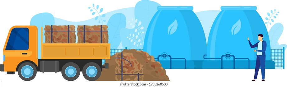 Waste processing factory vector illustration. Cartoon flat truck unloading sorted household garbage for composting tank reservoir with bio gas chimney pipeline. Recycling compost production process