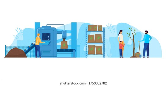 Waste processing factory vector illustration. Cartoon flat worker characters working on packaging station equipment, technology of recycling garbage to compost for planting trees isolated on white