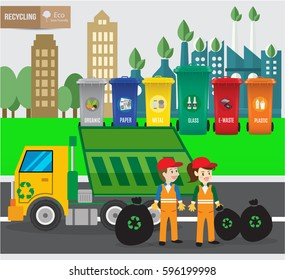 Waste recycing infographic and green ecology recycle.environmental friendly. Can be used for business layout, banner, diagram, statistic, web design, info chart, brochure template.Vector illustration
