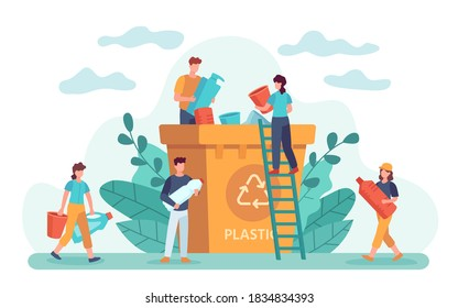 Waste recycle. Eco-friendly people throw out trash in recycling bin. Ecology lifestyle, plastic garbage and zero waste vector. Illustration waste garbage, trash recycling, recycle rubbish and sorting