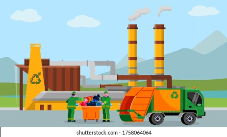 Waste recycle plant, vector illustration. Trash recycling industry concept design, people near truck with cartoon garbage. Alternative rubbish care, environmental graphic worker, car transportation.