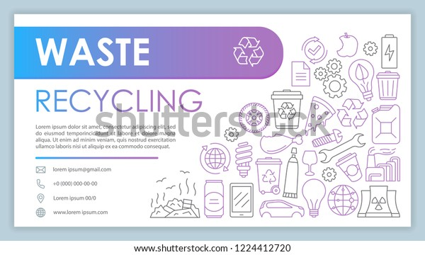 Waste Recycling Advertising Web Banner Vector Stock