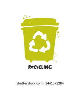 Waste recycling. Garbage sorting. Trash basket. Hand drawn vector illustration. Organic, Metal, Plastic, Paper, Glass, E-waste.  Ecology and recycle concept.