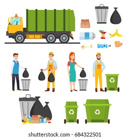 Waste recycling icons set. Gathering, sorting and  transporting process of garbage. Vector illustration. People gather trash