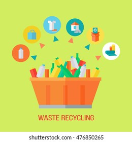 Waste recycling process. Rubbish bin with different trash. Sorting waste as paper, glass, plastic, cloth, rubber. Environmental protection. Garbage destroying. Flat style design. Vector illustration