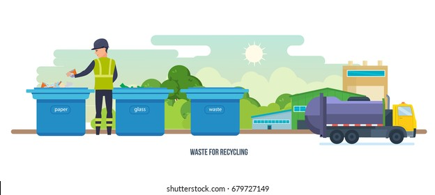 Waste for recycling. Residential and commercial solid waste collection, transportation, for further processing. Cleaning city. Household waste. Service recycling. Garbage truck. Vector illustration.