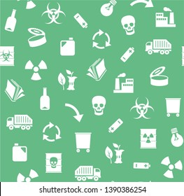 Waste, recycling, seamless pattern, green, vector. Garbage collection, different types of waste. Seamless, flat background. White, flat icons on green background.