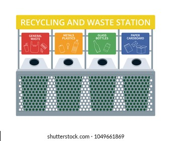 Waste and recycling station vector illustraion. Sort your rubbish