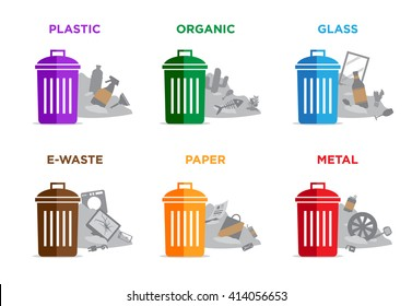 Waste segregation and garbage recycling sorts and categories. Colored recycle bin and trash pile vector illustrations. Plastic, organic, glass, electronic waste, paper and metal waste types.