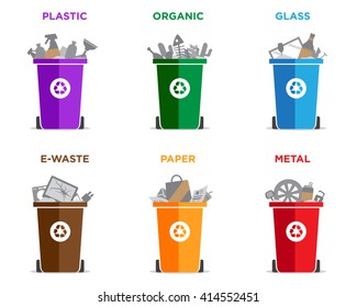 Waste segregation and garbage recycling sorts and categories. Colored recycle bin vector illustrations. Plastic, organic, glass, electronic waste, paper and metal waste types.