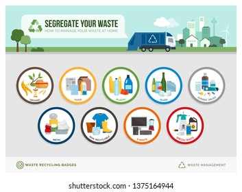 Waste separation and recycling educational icon badges with different types of trash and examples: sustainability and environmental care concept