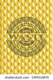 Waste shiny golden emblem. Scales pattern. Vector Illustration. Detailed.