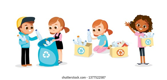 Waste sorting. Environmental protection. Eco friendly.   Set of children.