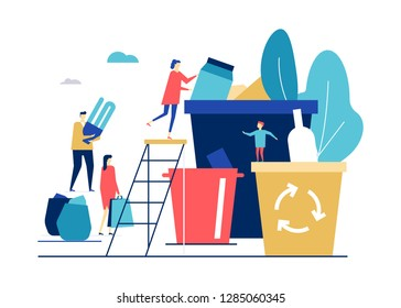 Waste sorting - flat design style colorful illustration on white background. High quality composition with man, woman throwing litter, recycling garbage. Images of bins for glass, plastic, lightbulbs