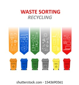 Waste sorting. Garbage cans with sorted garbage and types of trash: plastic, paper, glass, organic, metal, e-waste. Waste management. Recycling. Ecology and recycle concept. Vector illustration.