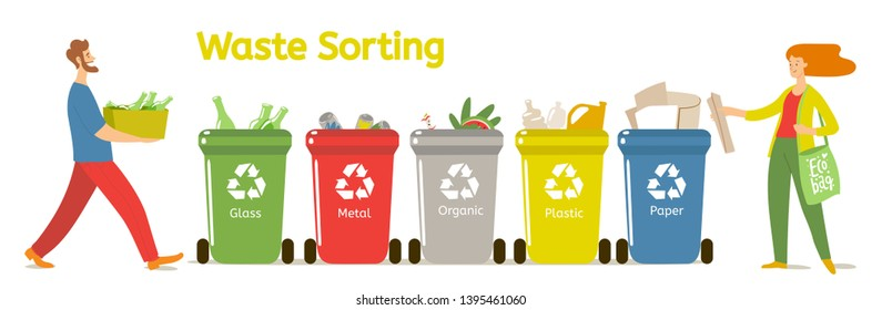 Waste sorting motivational vector illustration with man and woman sorting the waste. Zero waste life style. Good for infographic poster or motivational card.