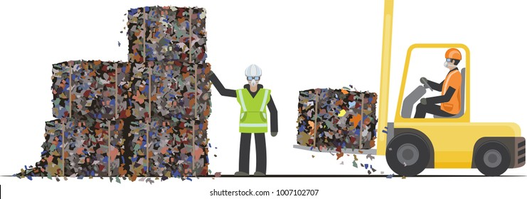 Waste sorting and recycling. Workers packaging garbage into stacks using forklift. Vector illustration