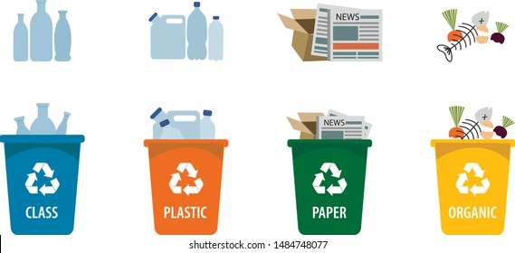 Waste sorting vector. Set of trash bins with sorted garbage. Various kinds of trash: organic, plastic, paper, glass. Colorful trash cans.