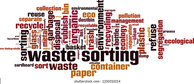 Waste sorting word cloud concept. Vector illustration