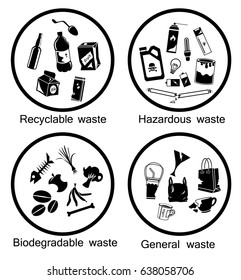 waste types icon set, Recyclable, Hazardous, Biodegradable and General waste, symbol for separation waste