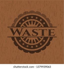 Waste vintage wooden emblem