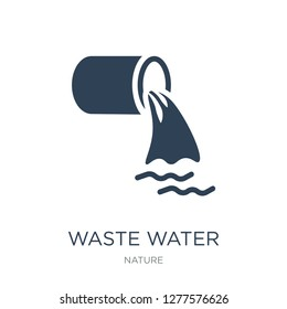 waste water icon vector on white background, waste water trendy filled icons from Nature collection, waste water vector illustration
