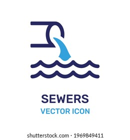 Waste water from sewers vector. Sewage icon