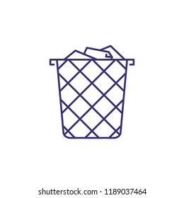 Wastebasket line icon. Trash, paper, metal. Office supply concept. Can be used for topics like stationary, appliance, paperwork