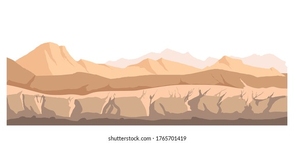 Wasteland empty scenery of nature, hills and mountains ranges. Rigid surface of ground and rocks, valley with mud and dirt. Wild scene with cracked soil, rural landscape vector in flat style