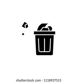 Wastepaper basket black icon concept. Wastepaper basket flat  vector symbol, sign, illustration.