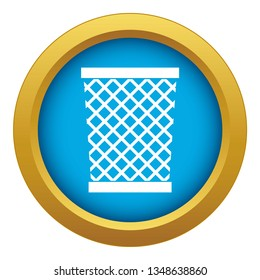 Wastepaper basket icon blue vector isolated on white background for any design