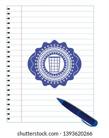 wastepaper basket icon drawn with pen. Blue ink. Vector Illustration. Detailed.
