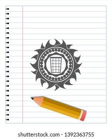 wastepaper basket icon emblem drawn in pencil. Vector Illustration. Detailed.