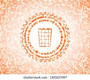 wastepaper basket icon inside abstract orange mosaic emblem