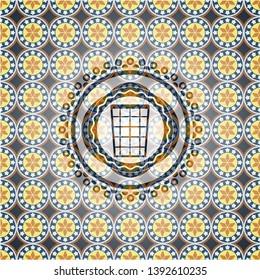 wastepaper basket icon inside arabesque style emblem. arabic decoration.