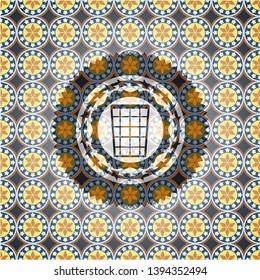 wastepaper basket icon inside arabic style emblem. Arabesque decoration.