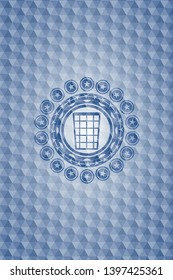 wastepaper basket icon inside blue badge with geometric pattern.