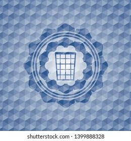 wastepaper basket icon inside blue hexagon emblem.