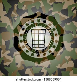 wastepaper basket icon inside camo texture