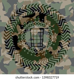wastepaper basket icon inside camouflage texture