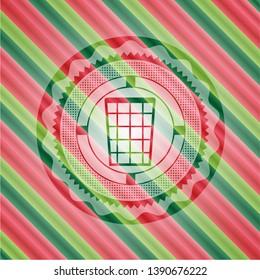 wastepaper basket icon inside christmas style emblem.