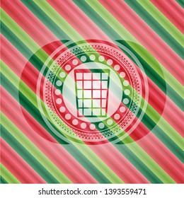 wastepaper basket icon inside christmas badge.